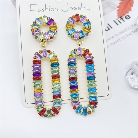 Mode farbige Strasssteine ovale Legierung Ohrringe Großhandel NHHER338123's discount tags