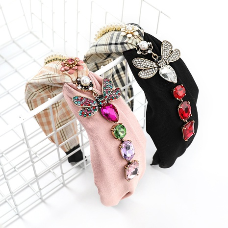 fashion semi-solid color half-stripe stitching fabric headband NHJE338141's discount tags