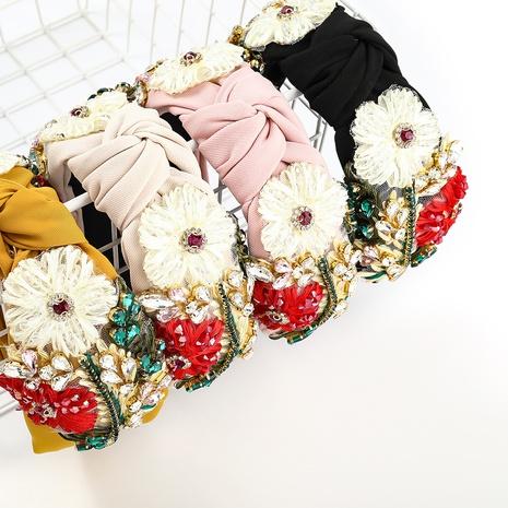 glass diamond cotton thread woven floral headband NHJE338142's discount tags