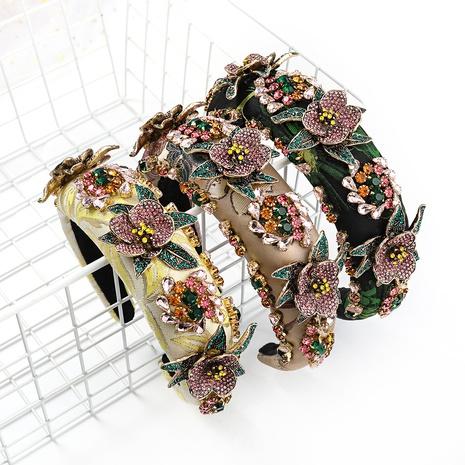 retro acrylic diamond-studded floral fabric headband  NHJE338147's discount tags