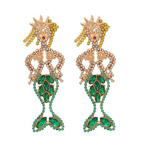 Mode-Legierung diamantbesetzte Acryl-Meerjungfrau-Ohrringe Großhandel NHJJ338181's discount tags