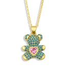 Fashion heartshape bear copper inlaid zircon necklace wholesale NHAS338221