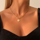 Simple geometric disc alloy necklace wholesale NHMD338245