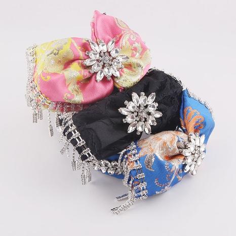 Barock mit Diamanten besetztes Stirnband mit Quastenschleife NHWJ338254's discount tags