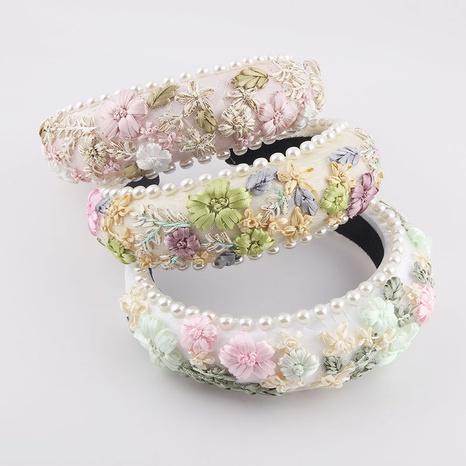Mode Schwamm Perle Stoff gewebte Blume Stirnband NHWJ338255's discount tags