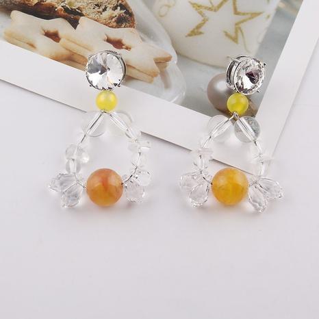 Mode transparente kristallbraune Perlen lange Ohrringe Großhandel NHWJ338258's discount tags