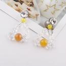 Fashion Transparent Crystal Brown Beads Long Earrings Wholesale NHWJ338258