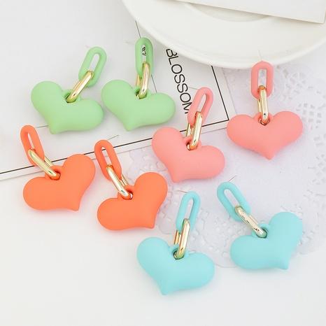 Modekette herzförmige bonbonfarbene Ohrringe NHNZ338306's discount tags