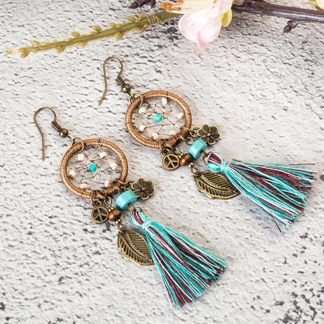 Bohemian dream catcher leaf flower tassel earrings  NHAKJ338343's discount tags