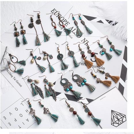 ethnic style alloy long tassel earrings NHAKJ338347's discount tags