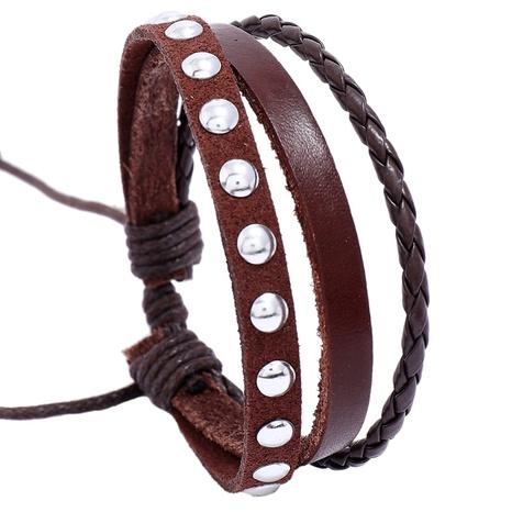 Einfach gewebtes mehrschichtiges Rindslederarmband im Großhandel NHPK338400's discount tags
