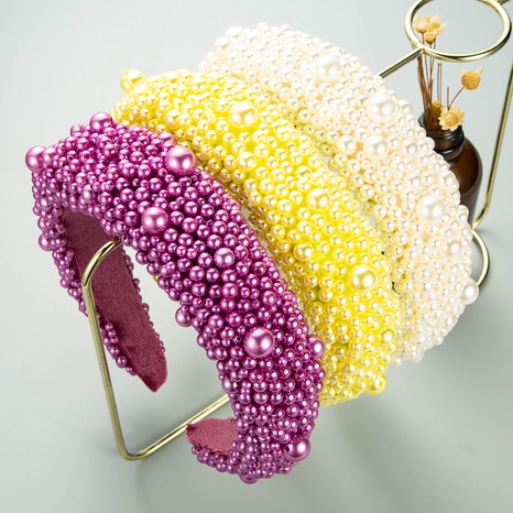 fashion solid color fabric pearl headband NHLN338451's discount tags