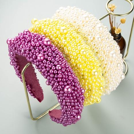 diadema de perlas de tela de color sólido de moda NHLN338451's discount tags