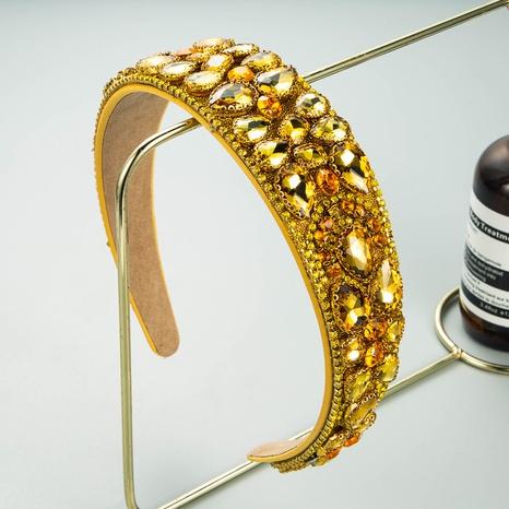 baroque drop-shaped glass drill flower headband NHLN338453's discount tags