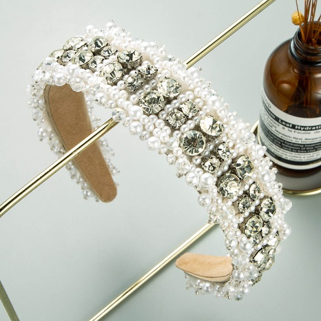 retro imitation pearl glass drill headband  NHLN338454's discount tags