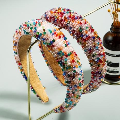fashion color handmade beaded sponge headband NHLN338455's discount tags