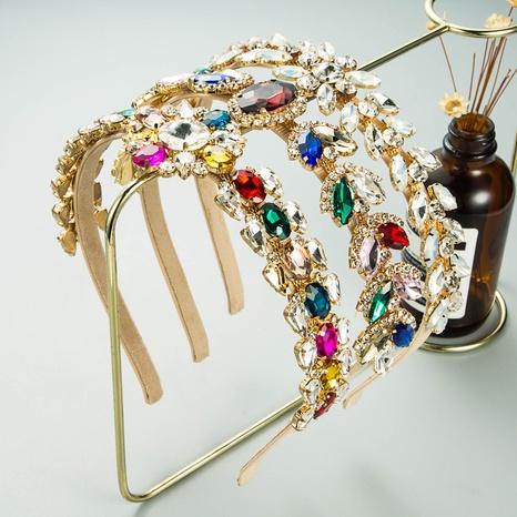 baroque sunflower leaf color rhinestone thin headband NHLN338456's discount tags