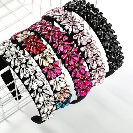 Fashion acrylic diamond-studded flower headband  NHJE338458's discount tags