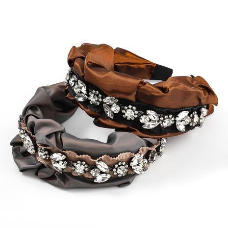 retro fold fabric diamond-studded headband  NHJE338459's discount tags