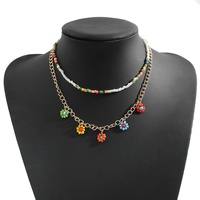 Bohemian bead multi-layer color necklace NHJQ338478