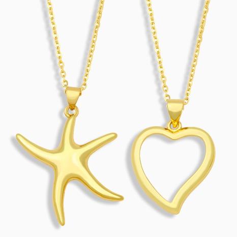 Collar de cobre en forma de corazón hueco de moda NHAS338492's discount tags