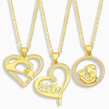 Collar de circonita de cobre con letra de moda MOM NHAS338491's discount tags