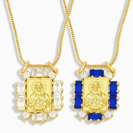Collar de circonita de cobre con carácter religioso de moda NHAS338494's discount tags