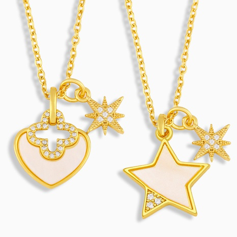 Fashion five-pointed star copper zircon necklace NHAS338496's discount tags