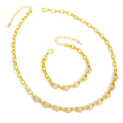 Fashion geometric copper zircon necklace two-pieces set NHAS338500's discount tags