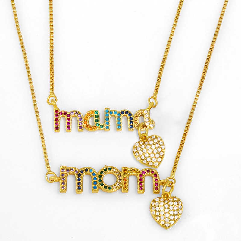 Fashion microinlaid color zircon letter MOM copper necklace NHAS338498