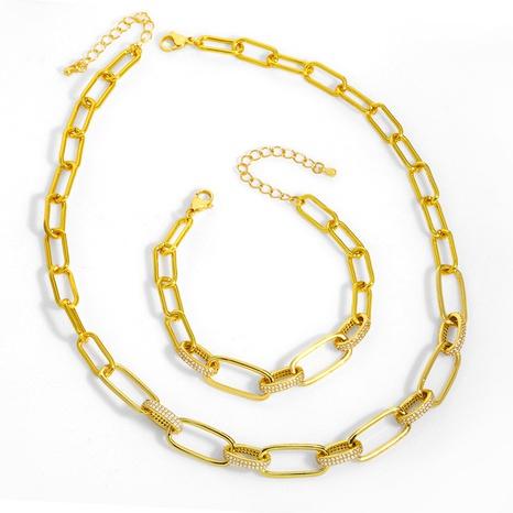 Hip hop geometric diamond copper short necklace two-pieces set NHAS338501's discount tags
