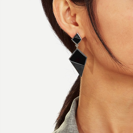 fashion black geometric earrings NHRN338520's discount tags