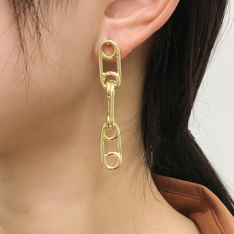 new creative paper clip long earrings NHMD338617's discount tags