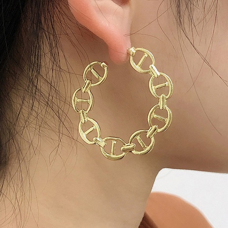 simple fashion chain exaggerated geometric earrings NHMD338618's discount tags