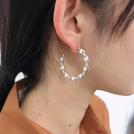 fashion C type simple pig nose metal earrings NHMD338619's discount tags