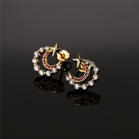 nouvelles boucles d'oreilles simples en diamant étoile lune NHPY338645's discount tags