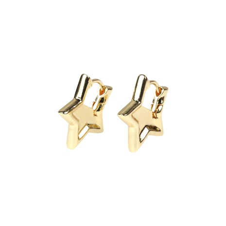 simple copper simple five-pointed star earrings NHPY338648's discount tags