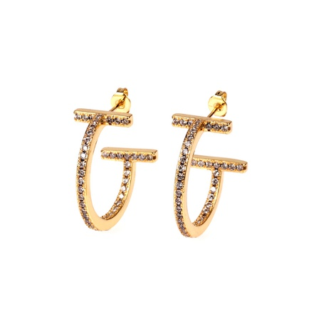 nouvelles boucles d'oreilles zircon en forme de C NHPY338657's discount tags
