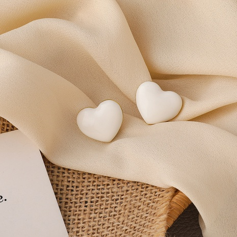 Fashion milky white heart-shape earrings NHMS338717's discount tags