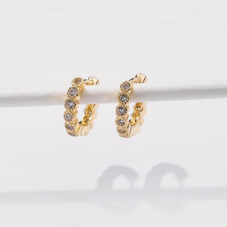 fashion simple inlaid zircon round earring NHLU338742's discount tags