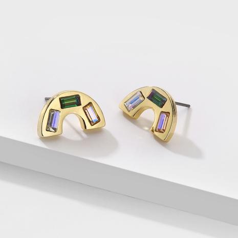 Fashion Rainbow Shape Rhinestone Stud Earrings NHLU338747's discount tags