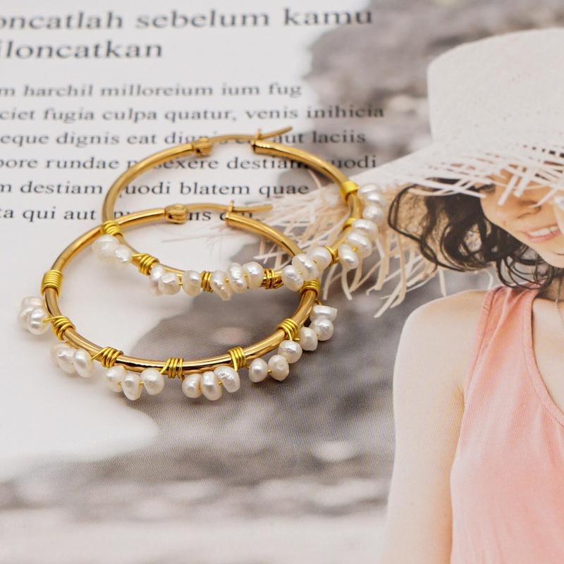 Bohemian ethnic natural freshwater pearl shaped hoop earrings NHGW338766