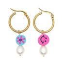 Bohemian ethnic style pearl large hoop earrings  NHGW338772