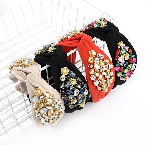 Fashion solid color fabric diamond-studded headband  NHJE338786's discount tags
