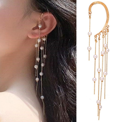 fashion pearl tassel long ear clip NHPJ338792's discount tags