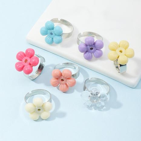 anillo de flor de resina de color simple NHNZ338799's discount tags