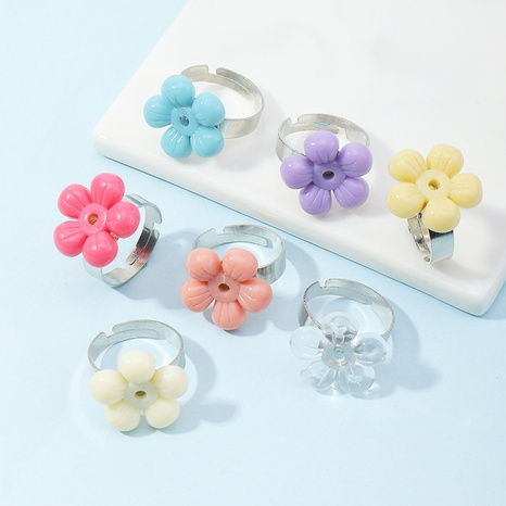 simple color resin flower ring  NHNZ338799's discount tags