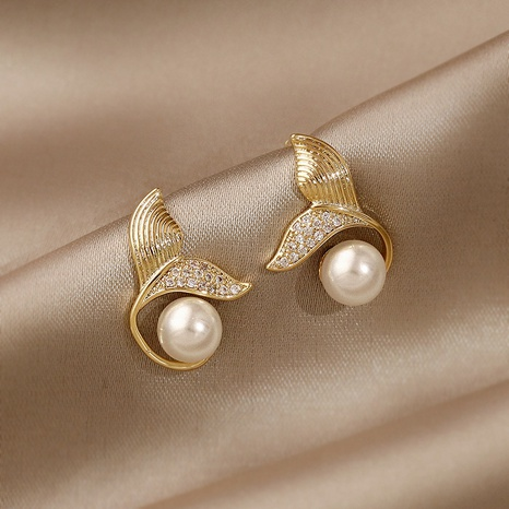 Fashion fishtail pearl alloy earrings NHXI338853's discount tags