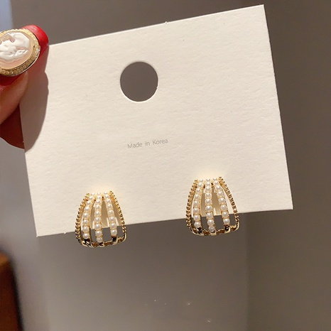 Fashion geometric pearl alloy earrings NHXI338856's discount tags