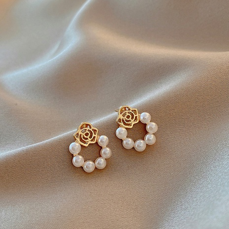 Korea pearl rose flower alloy earrings  NHXI338858's discount tags